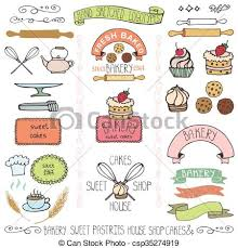 Bakery Cakes Labels Elementsdoodle Logo Template Bakery Badges