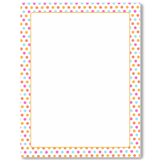 Multi Dots With Orange Border Letterhead 25 Count Geo48718 Designer Papers Decorative Printer Paper Printable Paper Christmas Stationery