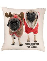 personalised pug cushion santa gift