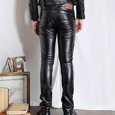 men pu leather pants skinny motorcycle riding pants slim fit trousers for men hip hop full length pants size 28 36 clothing