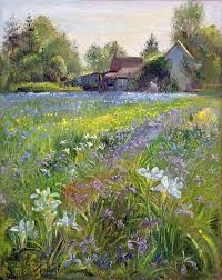 rural painting dwarf irises and cottage by timothy easton