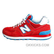 Balance 574 Womens Fire Red White Blue Shoes New Style 65ybjj