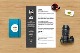 Grey Resume Template Photoshop Resume Templates Creative Market