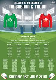 Rugby Themed Wedding Table Seating Plan Wedfest
