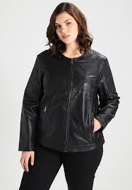 adia jacket round neck long sleeves leather jacket black zalando co uk