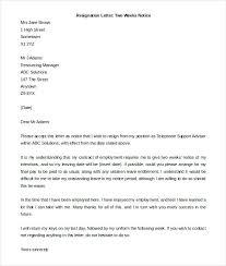 2 Week Resignation Letter Enchanting Leaving Job Notice Letter Template New 48 Resignation Letter