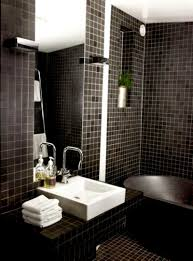 bathroom: Shabby Black Accents Mosaic Tiles Wall Idea For Bathroom Feat  Likeable Square Sink And