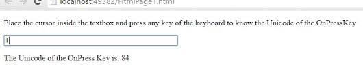 Javascript Keycode Chart Keycode Unicode Value In Javascript Tech Funda
