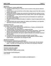 ... Sample Waitress Resume Examples Yola Resume Sample Waitress ...