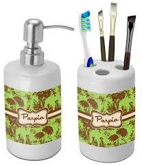 Green Brown Toile Bathroom Accessories Set Ceramic Personalized