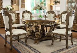 Homey Design HD  Pieces Renaissance Style Dining Table Set - Traditional dining room set