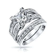 925 Sterling Channel Set Princess Cz Engagement Wedding Ring Set