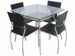 Metal Glass Dining Table Glass Top Metal Legs Modern Square Dining Table W Shelf