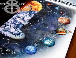 сообщество иллюстраторов иллюстрация эскиз тату космос и космонавт