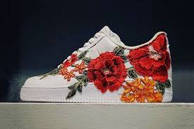 gucci shoes flower. a gucci ace inspired nike air force 1 with flower embroidery surfaces online shoes