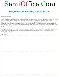 Resignation Letter For Further Studies