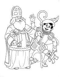 Kleurplaat Zwaaiende Sinterklaas En Zwarte Piet Saint Nick