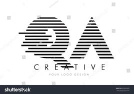 QA Q A Zebra Letter Logo Design with Black and White Stripes Vector