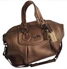 coach madison logo medium black luggage bags dkf  coach madison metallic  leather satchel in bronze