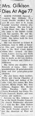Cordelia May (Chandler) Gilkison's Obit - Newspapers.com