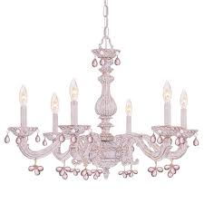 white shabby chic chandelier with rose crystals