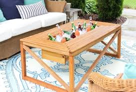 outdoor coffee table with beverage cooler patio ideas full size