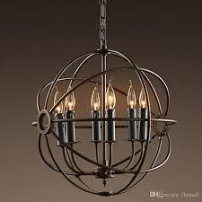 rh lighting restoration hardware vintage pendant lamp foucault s iron orb chandelier rustic iron rh loft light