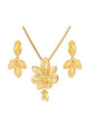 tanishq 22k gold pendant earring sets at best tata cliq