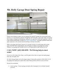Mt. Holly Garage Door Spring Repair by Mt Holly Garage Repair - issuu