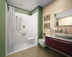 white wall and flooring in modern shower with sliding curtain