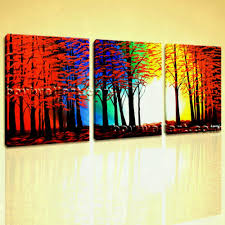 large abstract red blue green yellow landscape painting print on wall art canvas original framed amazing
