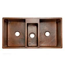 hammered copper kitchen sink: premier copper products ampquot x ampquot hammered triple bowl kitchen sink