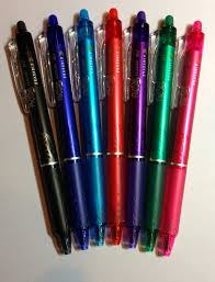 Frixion Heat Erasable Pens | Lovely Longarm Quilting & I have a limited supply of these clicker style pens in the colors above,  (from left to right, black, navy, blue, red, purple, green and pink). Adamdwight.com