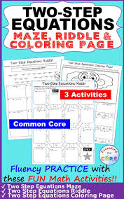 two step equations maze riddle coloring page fun math activities