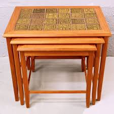 just be retro mid century vintage nest of teak ceramic tile danish coffee tables