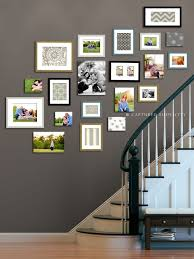 Decorations:Marvelous Cool Colored Frames Wall Display On Staircase Wall  Combine With White Baluster And