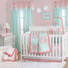 the peanut shell 3 piece baby crib bedding set mint green dot and c pink medallions 100 cotton quilt crib skirt and sheet com