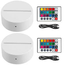 Niceco 2 Pack 3d Night Led Light Lamp Base Remote Control Usb Cable Adjustable 7 Colors Decoration Decorative Lights For Bedroom Child Room Living