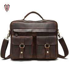 <b>TIANHOO fashion retro briefcase</b> man genuine leather bag 13 inch ...