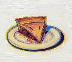 wayne thiebaud cherry pie 2016 oil on paper mounted on board