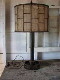 hand crafted industrial metal table lamp with burlap shade by snodon iron custommade com
