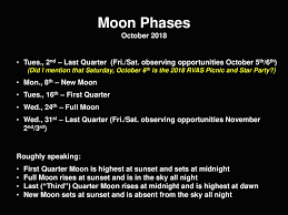 Moon Chart October 2018 Highlighting The Near And Deep Sky Ppt Download