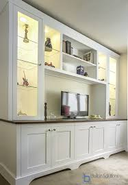 large living room storage cabinets with glass display case