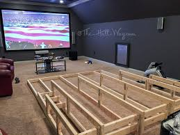 a home theater riser diy i would add running lights under each stair for soft lighting and safety design a room home theaters