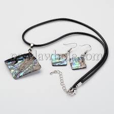 rhombus wax cord natural paua shell pendant necklaces and earrings jewelry sets with platinum tone brass lobster claw clasps 14 3 2mm 46mm