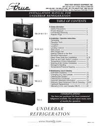 Cabinet Installation Company True Manufacturing Company Td 50 18 S Lt User Manual 24 Pages
