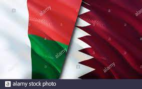Madagascar and Qatar flags. 3D Waving ...
