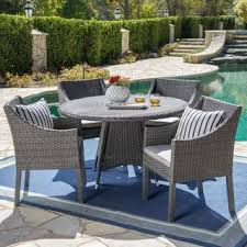 Outdoor dining sets with umbrella Navy Blue Franco Outdoor 5piece Round Wicker Dining Set With Cushions Umbrella Hole By Christopher Wayfair Buy Umbrella Hole Outdoor Dining Sets Online At Overstockcom Our