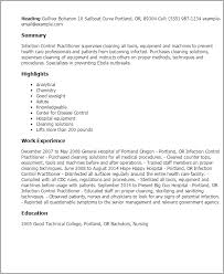 Resume Templates: Infection Control Practitioner