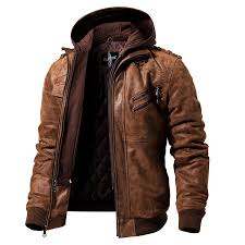 leather motorcycle jacket with removable hood view larger